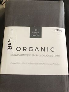 """Under The Canopy Organic Standard Queen Pillowcase Pair Grey """"FREE SHIPPING"""""""