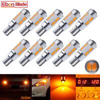 10Pcs T10 W5W 194 168 LED Bulb Amber Yellow Canbus Side Marker Light Lamp 12V DC