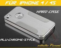 Apple iPhone 4 4G 4S  Hard Case, Alu Bumper, Schutz Hülle, Metall Cover Chrome