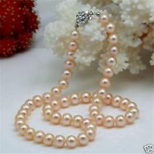 Beautiful! 7-7.5mm Pink Akoya Natural Pearl Necklace 18""