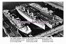 pu0920 - Liners - Queen Elizabeth , Queen Mary , Normandie in New York - photo