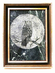 Rodney M. Winfield Dry Point Etching Dark Green Slate Signed Lt. Ed. 66/500 Owl