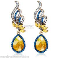 1 Pair Fashion Women Rhinestone Feather Ear Chandelier Stud Drop Dangle Earrings