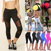 Women Ladies Capri Cropped Leggings Yoga Pants Gym Fitness Workout Wear Trousers