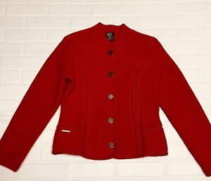 Womens Silberdistel Trachten Boiled Wool Cardigan Sweater Jacket Red Size M 8/10