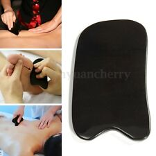 Natural Black  Buffalo Horn Gua Sha Board Guasha Acupuncture Cure Massage Tool