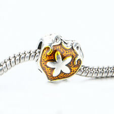 NEW Heart bling Enamel Floral Spacer Bead Fit 925 Silver Charms Bracelet