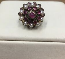 Beautiful 14kt Yellow Gold Antique Vintage Pearl + Ruby Ring Size 6 1/4