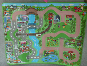 """36"""" X 48""""  KIDS CARS PLAYMAT -   WIPE CLEAN AND ROLL UP FOR STORAGE"""