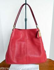 COACH Madison Phoebe Leather Loganberry Shoulder Bag + Dust Bag NWT $358 +Tax