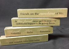 4 Set-Friends House Dream Decor Wooden Sign Message Blocks Friendship Quote Gift