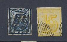 URUGUAY Yv&T n° 30 + 32 oblitérés/used 5c bleu 15c jaune 1866