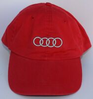 Audi Luxury Car Baseball Cap Hat Adjustable Leather Strapback Red 100% Cotton
