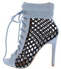 Blue Denim Black Mesh Lace Up Open Toe Ankle Bootie Heels, US 5.5-10