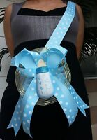 Baby Shower Mom To Be It's a Boy Sash Blue Bottle Polkadots Ribbon and Corsage