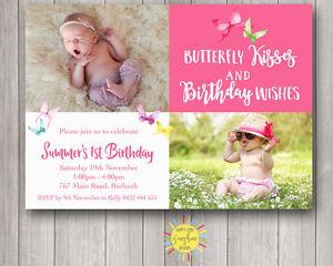 Custom Girls Birthday Invitation Any Age Butterfly Kisses & Birthday Wishes