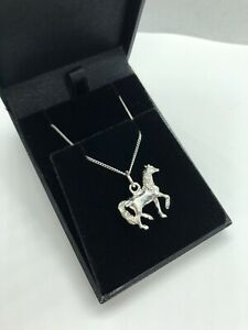 925 STERLING SILVER HORSE PONY NECKLACE CHARM PENDANT CHAIN CHILD + ADULT SIZES