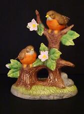 Collectible Porcelain Figurine Two Birds Redbreast Robins In Dogwood Tree GUC