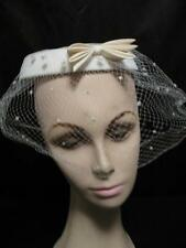 Vintage Hat 1950's Hats Fascinator Netting Ivory Bow Wedding Bridal Headband
