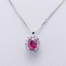 collana con pendente contorno con rubino e diamanti naturali taglio brillante