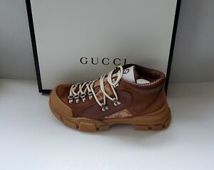 Gucci Flashtrek GG canvas/leather trekking boots sneakers # G 9/ US 9.5/IT 43