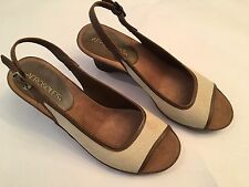 Aerosoles 'Dozen Roses' Wedge Sandals, Beige & Brown, Size 7 M, New without Box