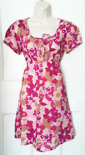 Pink & cream floral tunic short sleeves White Stuff 100% cotton-Size 12