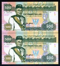 SET Sarawak, Malaysia, 2 x 500 dollars, 2017, Private Issue, matching S/ns UNC