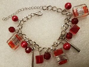 "Lampwork Glass Red Multi-Dangle Charms 8+2"" Chain Bracelet Fashion Jewellery"