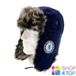CHELSEA FC TRAPPER HAT WINTER NAVY WARM OFFICIAL FOOTBALL SOCCER CLUB FAN NEW