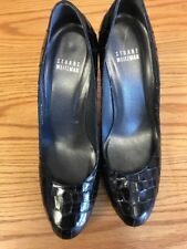 Stuart Weitzman Black Leather Croc Print Pumps Heels Platform Womens Size 7.5 M