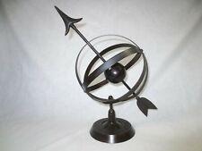 "Vintage metal Armillary Sundial Sphere w arrow for inside or garden etc 14"" tall"