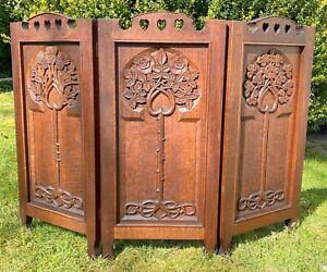Keswick School Of Industrial Arts Carved Oak Crafts Firescreen Nouveau Simpson