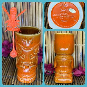 Tiki Tony Ventiki Signature Tiki Mug 3rd Edition Burnt Orange Tiki Farm Swizzle