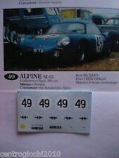 1/43 F1 DECALS CAR ALPINE RENAULT M63 24 LE MANS 1963 n.49 Richards-Frescobaldi