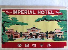 1960 Luggage label~Japan~Tokyo~Imperial Hotel~Frank Lloyd Wright~demolished 1968