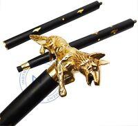 Brass Solid Designer Fox head Wooden Black Walking Stick Cane Vintage style Gift
