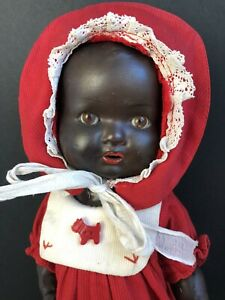 "Antique German 13"" Armand Marseille Black Baby Doll Sleep Eyes"