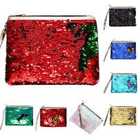 Mermaid Glitter Sequins Cosmetic Makeup Bag Case Clutch Zip Wallet Purse Handbag
