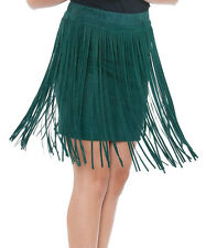 Cowgirl Western Vintage Look Suede TEAL Fringes Skirt sizes S or M or L