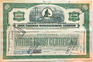 Iron Fireman Manufacturing Company 100-share stock certificate