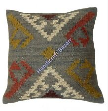 "18"" Pillow Wool Jute Handwoven Killim Cushion Throw Sofa Reversible Decor Home"