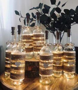 Light Up Large LOVE hessian Twine Rustic Boho Bottles