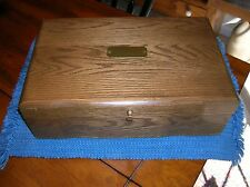 """REED & BARTON HANDCRAFTED OAK WOOD JEWELRY CHEST BOX LOTS OF STORAGE 14"""" LONG"""
