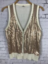 FOSSIL KNIT TOP XL WOMEN'S VEST GOLD SEQUINED BUTTON UP SLEEVELESS TANK (C55)