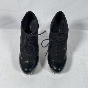 LC Lauren Conrad Black Stiletto-Heel Platform  Lace-Up Bootie - Size 7 M