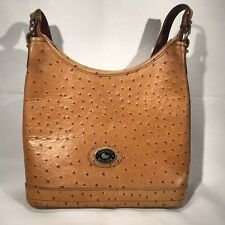 Dooney & Bourke Small Hobo Bag Tan Ostrich Leather Bucket Purse Handbag Tote USA
