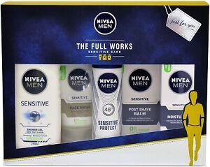 Nivea The Full Works Men Gift Set Sensitive - Moisturiser Post shave, 5 PIECES