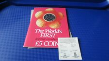 1981 Isle of man pobjoy mint worlds first £5 five pounds virenium coin + coa