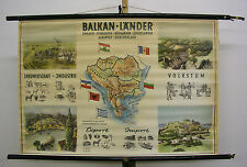 Schulwandkarte Wandkarte alte schöne Karte Balkanländer URBJAGR 98x67cm ~1960